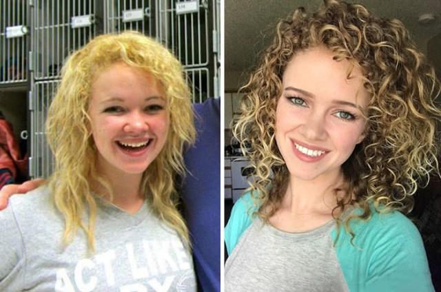 Chica con pelo abandonado y después cambio