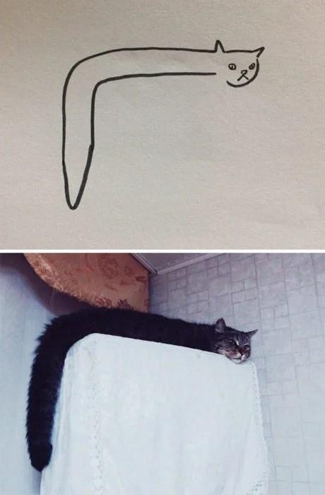 Dibujos realistas gatito - acostado