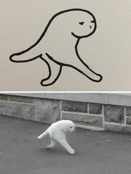 Dibujos realistas gatito - panorámica fail