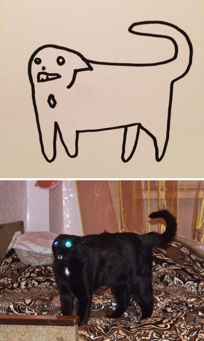 Dibujos realistas gatito - gatito negro