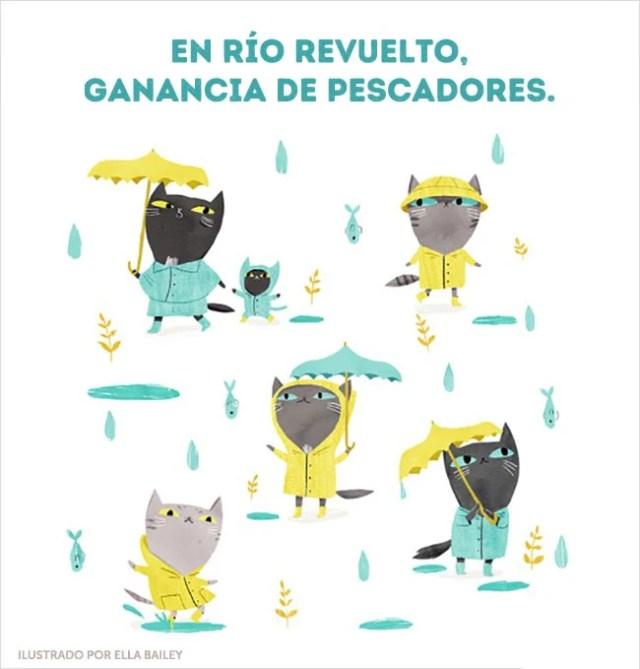 río gatitos ilustración dichos