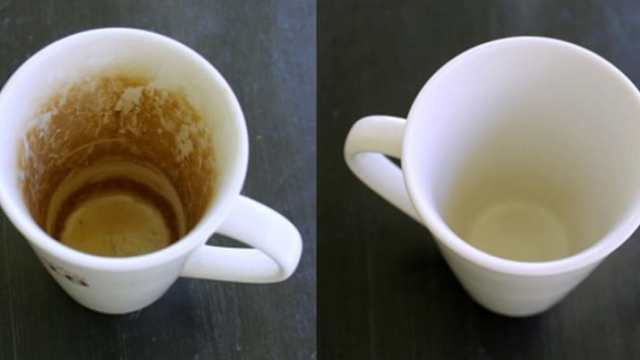 taza de café sucia