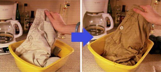 Pnatalón dentro de un recipiente con café