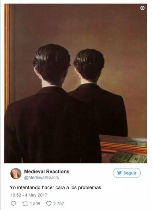 Pintura de hombre frente al espéculo y sólo puede ver su nuca