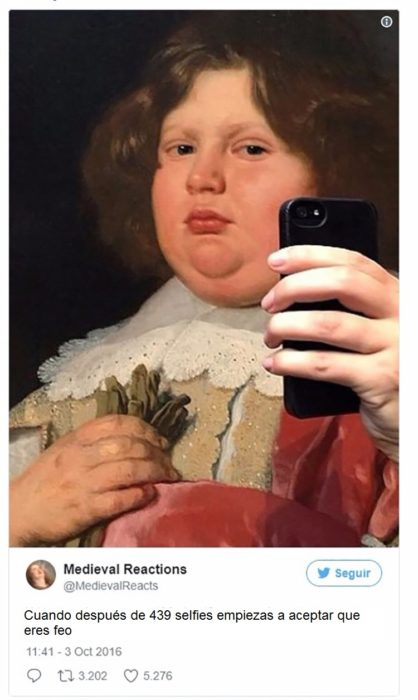 Pintura de un niño gordito sobrepuesto un celular para simular selfie