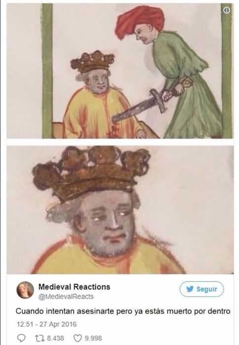 Hombre clavado con una espada con hacia despreocupada