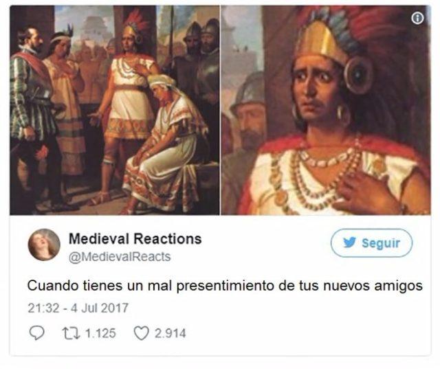 Dibujo con la hacia preocupada de Moctezuma