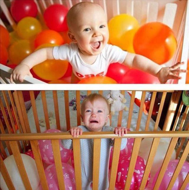 Fotod bebé cuna y globos fail