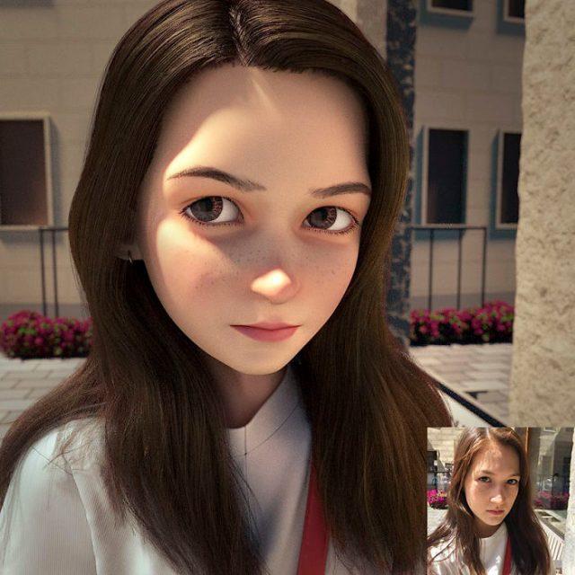 Chica con pelo obscuro convertida en personaje de Pixar