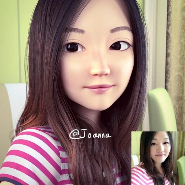 chica asiática convertida en personaje de Pixar