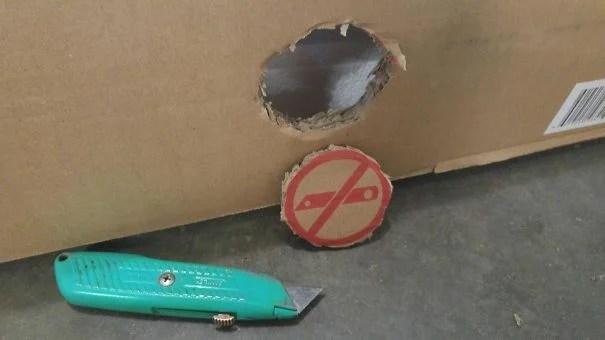 caja recortada con cutter