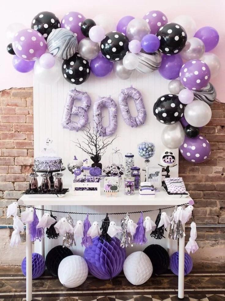 15 Ideas sencillas para decorar con globos en Halloween