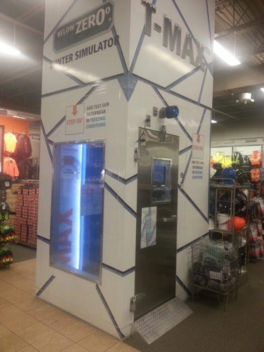 simulador frío en tienda