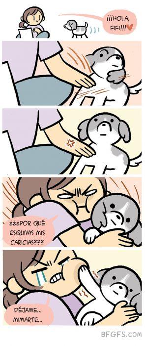 caricias perro ilustración