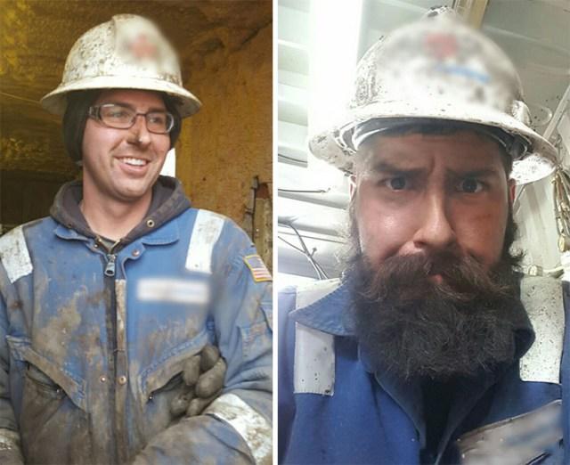 minero sin barba y con barba
