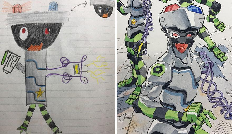 Thomas Romain hace nimes con los dibujos de sus hijos