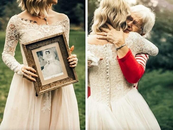 Se puso el vestido de su abuela en su boda