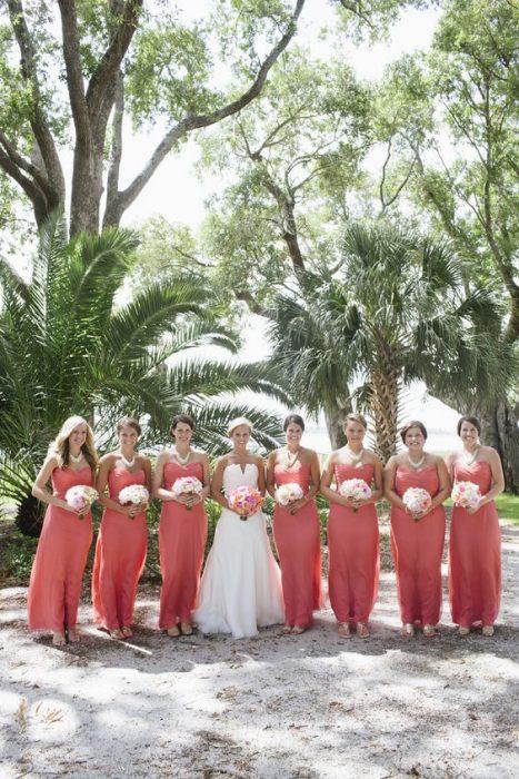 vestidos para damas de honor corales