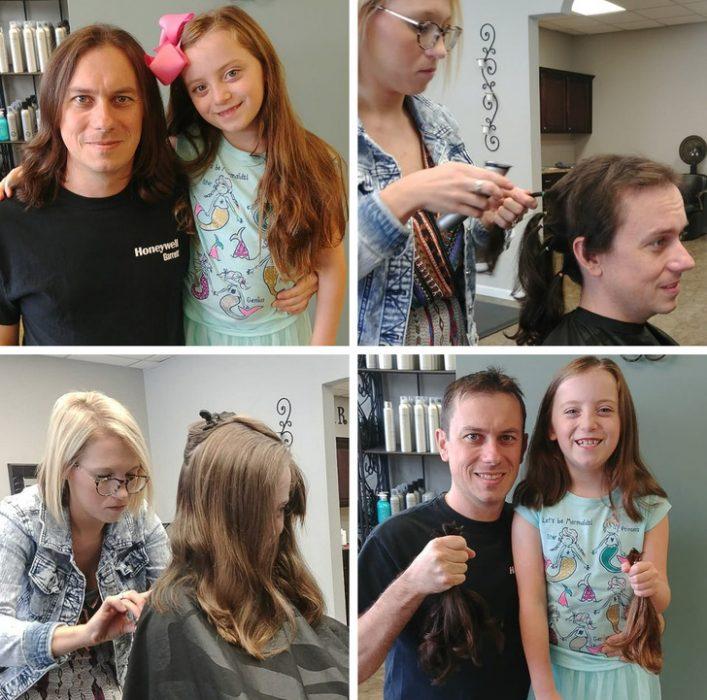 padre e hija donan su cabello