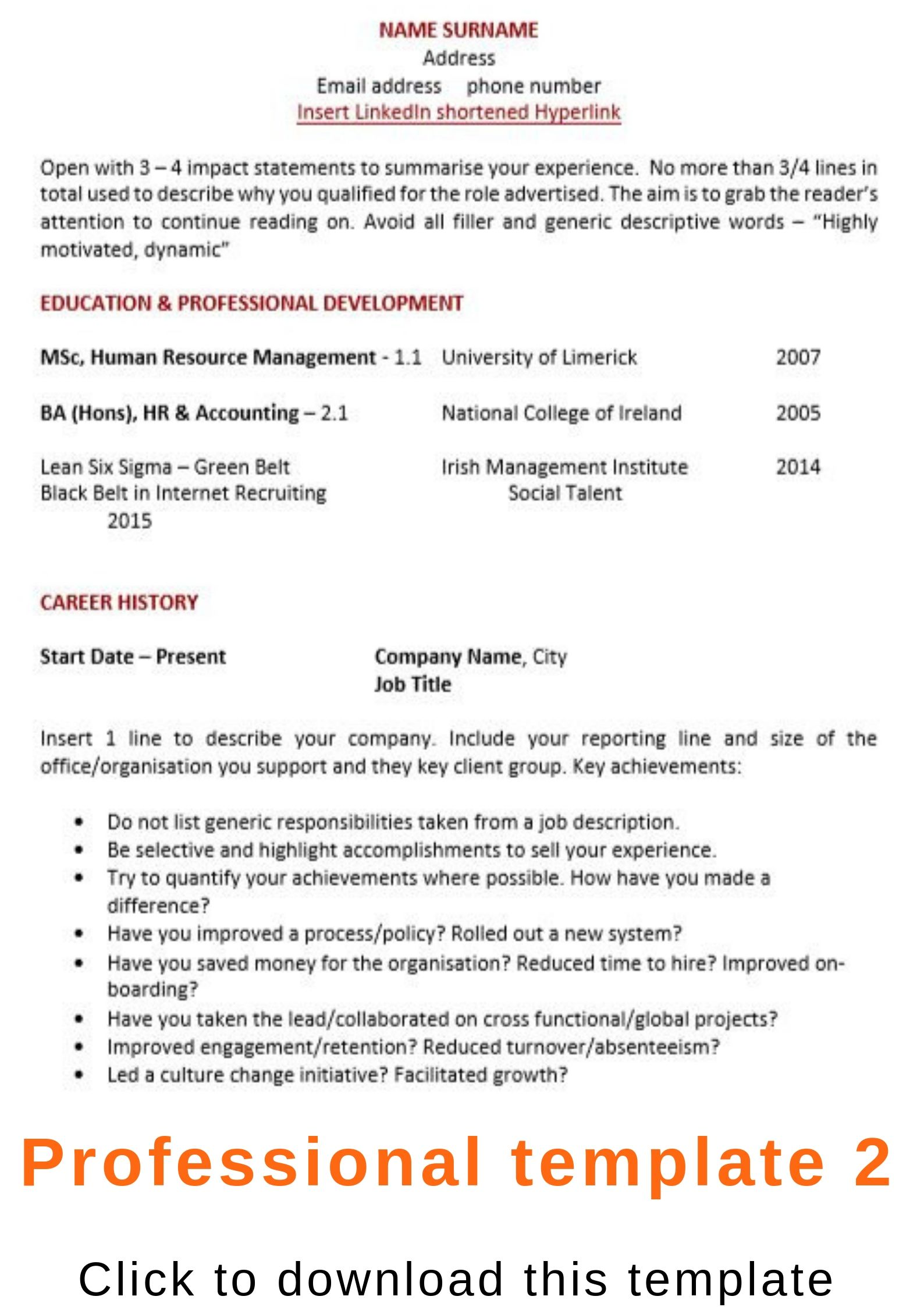 cv template ireland word