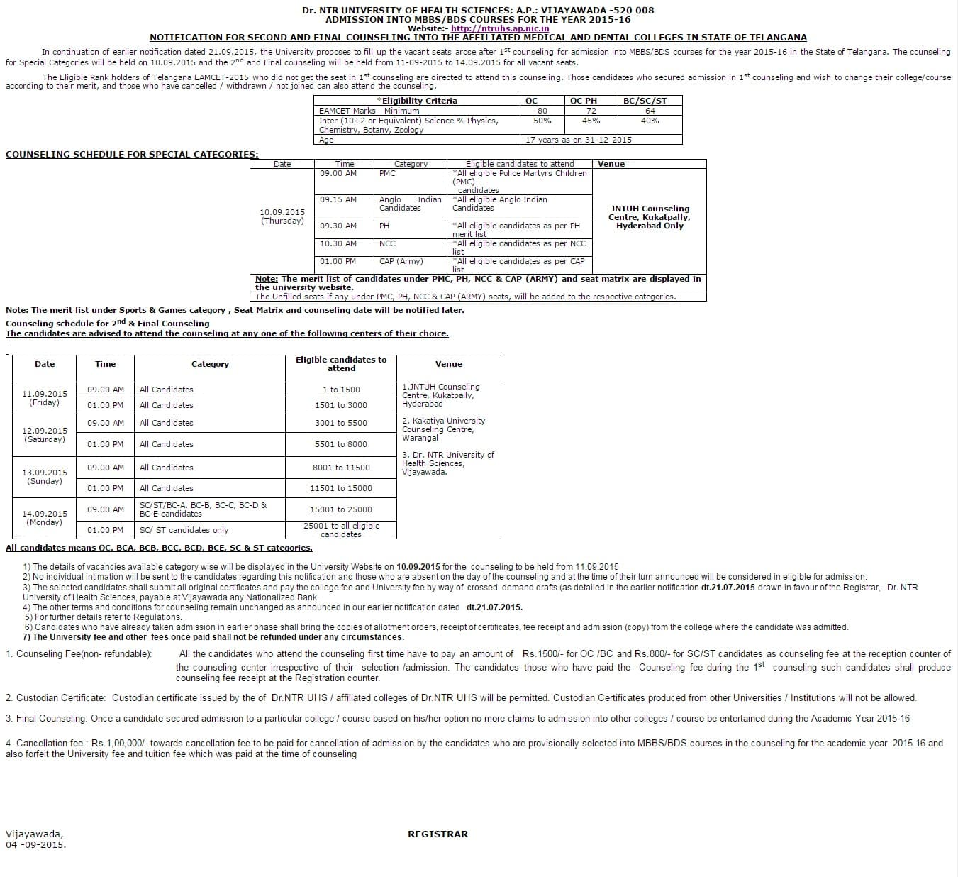 Dr NTRUHS MBBS   BDS 2015 Telangana   2nd Counselling Notification