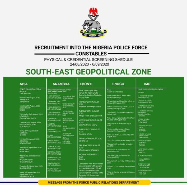 Nigeria Police Shortlisted Candidates 2020 - Download PDF List 6