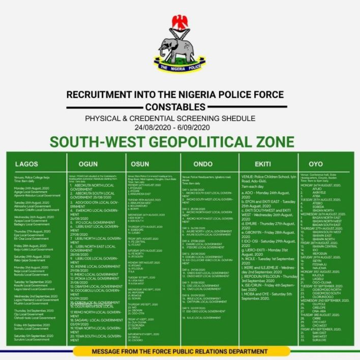 Nigeria Police Shortlisted Candidates 2020 - Download PDF List 3