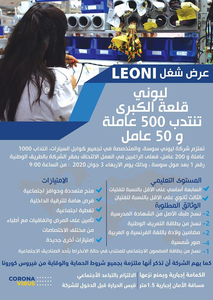 📢💥إنتداب 500عامله و 50 عامل بشركة leoni
