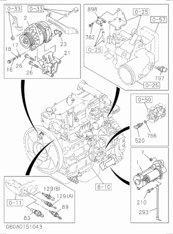 ALTERNADOR EG70R-3 MA200 SR2000G ZR125HC ZR950JC ZX170W-3