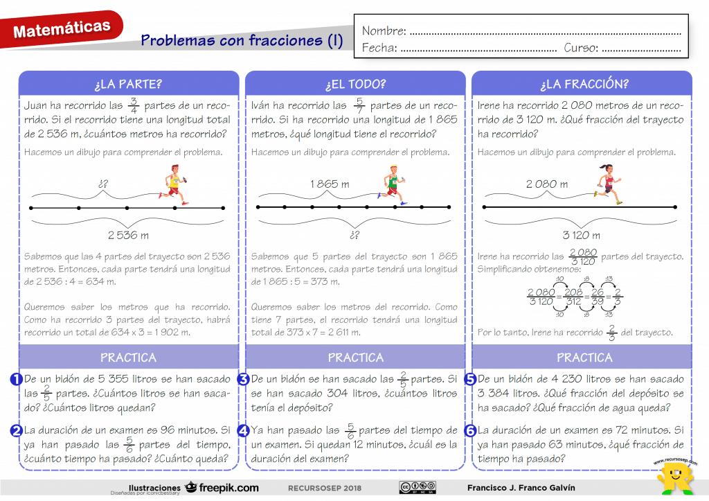 Tipos de problemas con fracciones (I)