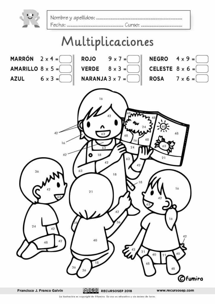 Tablas De Multiplicar Dibujo Para Colorear