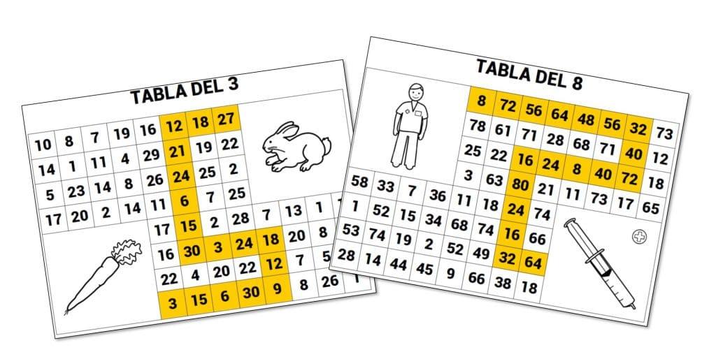 LABERINTOS: Tablas de multiplicar / múltiplos