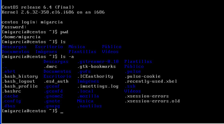 Pantalla de comando mostrando el logon , el comando pwd , ls y ls -a