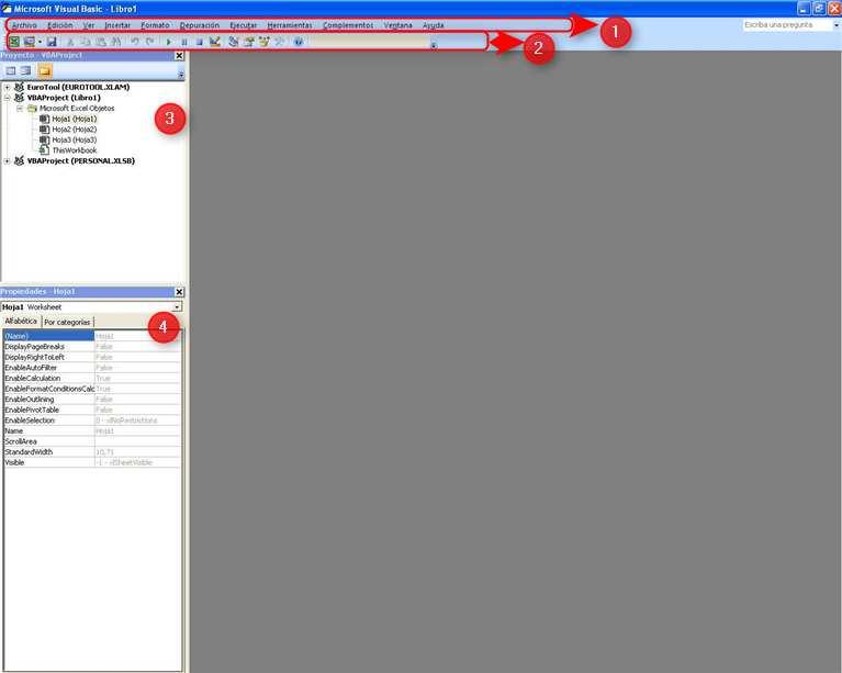 Pantalla de Visual Basic para aplicaciones
