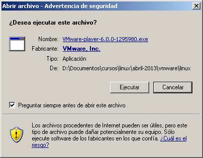 Inicio instalacion VMWarew player