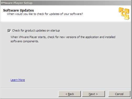Instalacion vmware player. Peticion consulta actualizacion