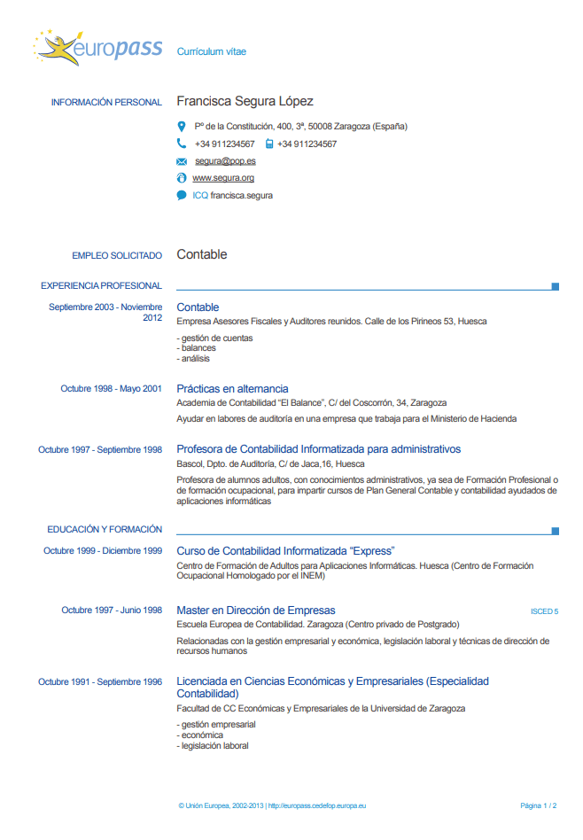 Currículum europeo español