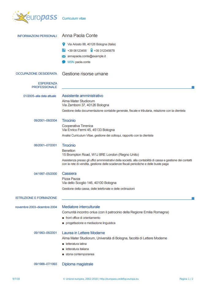 Currículum europeo italiano