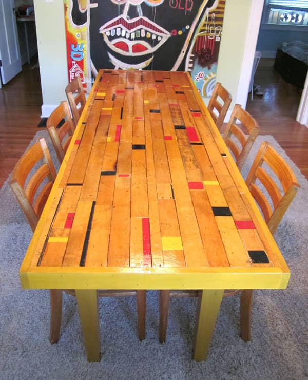 Recycled Gym Floor Dining Room Table  Recyclart
