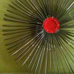 Retro Kids Kitchen Birch Cabinets Recycled Plastic Knife Into Wreath • Recyclart