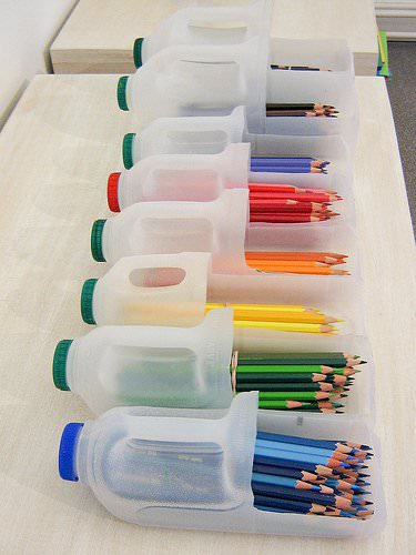 green pencil holders