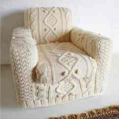 Armchair Cover Diy White River Lawn Concert Chairs Hand Knitted Slipcover Recyclart