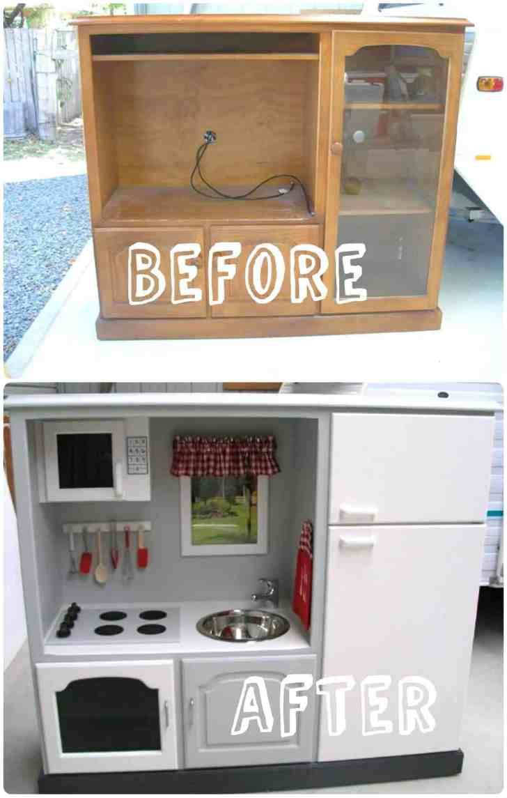 Kids Play Kitchen Old Stand Recycled Ideas Recyclart