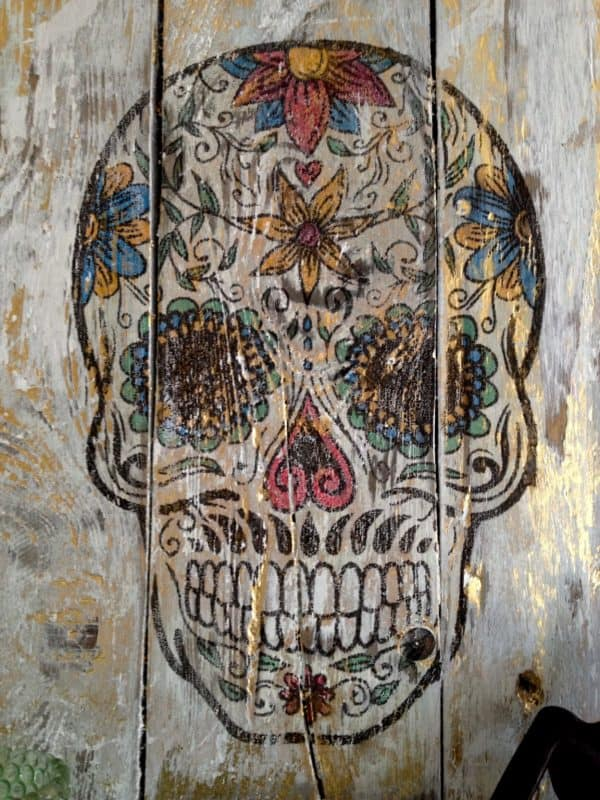 Day Of The Dead Wall Hanging From Repurposed Pallet Wood