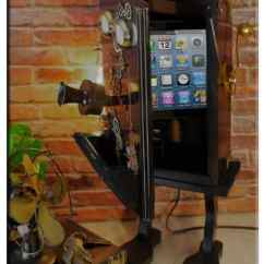 Black Wood Chair Fishing Spare Mud Feet Steampunk Gears Whimsical Telephone Upcycled 2-port Usb Charger Lamp • Recyclart