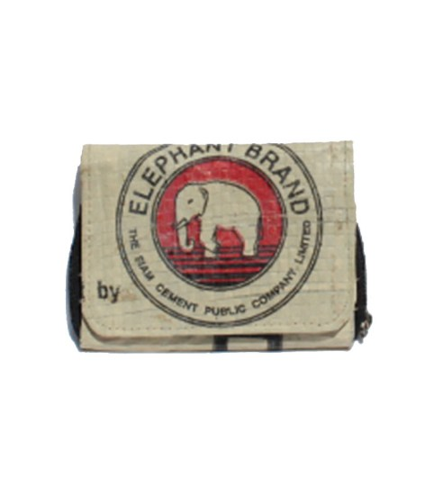 Elephant Brand Ladies Recycled Wallet 3 fold with Outside zip 4
