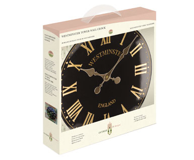 "Outside In Westminster Tower Wall Clock - 15"" Black"