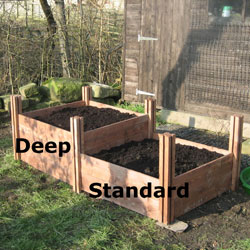 Wooden Raised Beds With Tall Posts - Deep