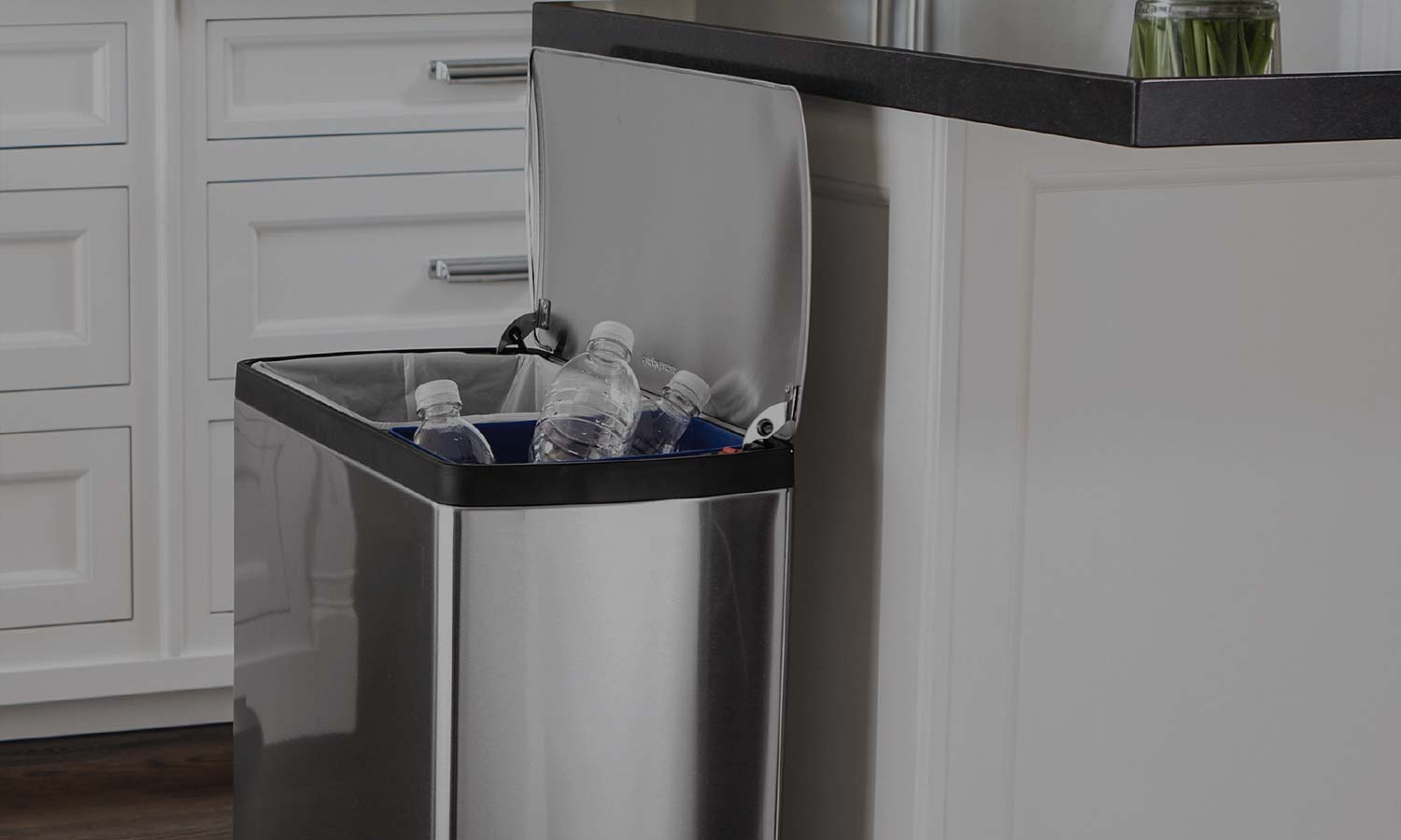 kitchen trash can sizes how to decorate counter space dual cans - two compartment recycling bins