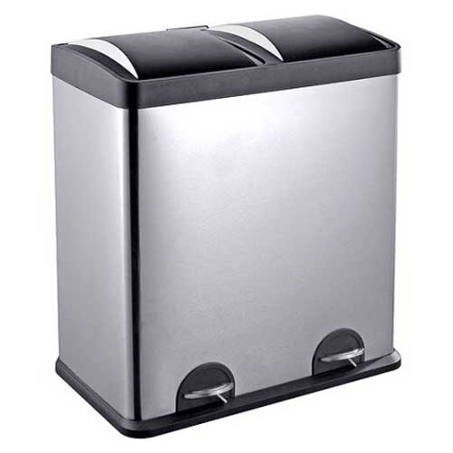 tall kitchen bin backsplash options dual trash cans two compartment recycling bins 7 step n sort pedal and 16 gallons